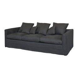 Marco Polo Imports - Williamsburg Sofa - Balancing dramatic scale with flea marketing-find design, the Williamsburg sofa offers comfortable seating in fresh lines and natural fabrics creating a striking yet comfortable, one-of-a-kind conversation starter. Upholstered in Black linen.