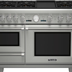 Thermador 48 inch Professional Series Pro Grand Commercial Depth Dual Fuel Steam - Only Thermador can create the first high-performance range with a built-in Steam + Convection Oven. Introducing the Pro Grand® Steam - a range that will change the way real cooks cook. This Ultimate Culinary Center™ features seven cooking options: ExtraLow® simmering featuring our Star® Burners, 22,000 BTUs Power Burner, Titanium Griddle & Grill, a large capacity Convection Oven, Warming drawer and the industry exclusive Steam & Convection Oven. The Pro Grand® Steam Range does what we've done throughout our history - set and define the new industry standard. Learn more about the features and benefits of our dual fuel ranges .