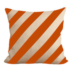 Fiber and Water - Burnt Orange Stripes - Burnt Orange Stripes. A great, subtle yet stylish addition to any home. Hand-pressed onto natural burlap using water-based inks.