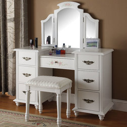 """Acme Furniture - Torian Vanity Desk and Stool in White - Torian Vanity Desk and Stool in White; Finish: White; Vanity Table & Stool, Wood Drawer Glide, Connected on the Side; Materials: MDF, Solid Wood Leg, CA FR Foam; Weight: 106 lbs; Dimensions: Vanity Desk: 52"""" x 18"""" x 32""""H, Stool: 19"""" x 14"""" x 20""""H"""