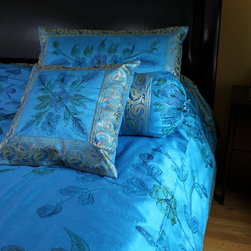 Luxurious & Decorative Bedding Sets - Stunning King Size 7-piece bedding set. Hand painted in India. Ocean Blue color. Soft, luxurious Dupion silk fabric.