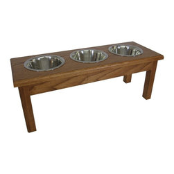 3 Bowl Traditional Style Diner  Medium  2 Qt Walnut - 3 Bowl Traditional Style Diner  Medium  2 Qt Walnut Completely assembled.Finished with 3 coats of water base polyurethane, safe for your pet. Solid mortise and tenon construction will give this diner years of use. With any fine furniture, standing water will eventually stain the rim. Completely assembled, ready to use. Stainless steel, dishwasher safe bowls included.dishwasher safe bowls 29x11x9 1/2