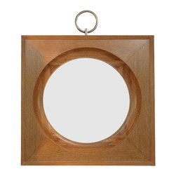 "Global Views - Ring Mirror- Light - Made of solid oak with a solid brass nickel plated ring. Glass has 1""bevel. Hangs on the wall with a 24""metal cleat."