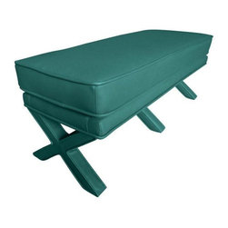 """Used Cayden Teal Leatherette Bench - This Cayden bench offered by Chic little Nest is as beautiful as she is functional. The perfect chic bench to complete any room, whether at the foot of your bed, in the entrance to your home or as extra seating in the living area. Her unique fully upholstered """"X"""" shaped legs set her apart from your average bench. This is offered in teal leatherette."""