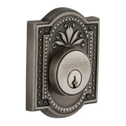 Nostalgic Warehouse - Nostalgic Meadows Double Cylinder Deadbolt Keyed Differently in Antique Pewter - The antique pewter Meadows Double Cylinder Deadbolt, with its intricate beaded detailing and botanical flourishes, creates an inspired design theme. Keyed differently. Made of solid (not plated) forged brass for durability and beauty.