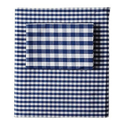 Serena & Lily - Gingham Sheet Set  Navy - Gingham isn't just for clothing anymore. Cozy up in these navy sheets from Serena & Lily. Guys and girls alike will be happy with this soft choice.