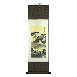 Oriental-Decor - Bridge Over Quiet Waters Chinese Print Scroll - A classic Chinese landscape with bridge, boats, river, trees and houses fills out the scene in this marvelous work of art. This spectacular print scroll will transcend the viewer to a time and place in China long ago. Hang this relaxing scene in any room to create a beautiful Asian decorative effect.