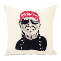 reStyled by Valerie - Willie Nelson Decorative Throw Pillow, Modern Pillow - Now you can cuddle up with the red-headed stranger anytime. The bandana-wearing legend rocks shades and his signature braids in this original illustration by Samantha Kulchar. Hand-screen printed on a linen blend throw pillow that's all natural — just like Willie.