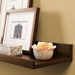 "Pottery Barn Holman Shelf - Available in three shades: white, gray and wood. Also available in a larger size. The lipped edge makes it perfect for dispalying pictures and other framed objects. Dimensions: 24"" wide x 10"" deep Maximum Weight Capacity: 40 pounds"
