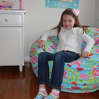 "Bean Bag Chairs for Girls Rooms - Ahh! Products Earth Day anti-pill fleece bean bag chair. Remove and wash cover, water-repel liner. 37"" wide large size. 10 year warranty, Made in USA."