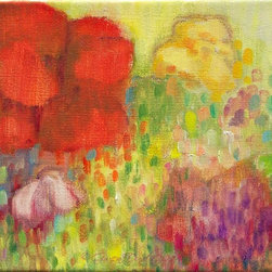 """Gwen Duda Studios - Floral Original Oil Painting 8"""" x 10"""" Titled """"In My Garden Are Many Colours"""" - A luminous floral garden impressionistic original oil painting in shades of greens, violets, reds, yellows and touches of blue. Perfect for a sunroom, breakfast nook or anywhere that you want to uplift and cheer the mood of. Sides are painted and the painting is wired and ready to hang as is or can be framed to your liking. A very happy and dare I say, pretty painting!"""
