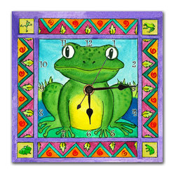 Frog Wall Clock - This adorable Frog is great for kids or fun-loving adults. Made in our studio, from a print of an original watercolor, it is dry mounted onto black foam board and heat-sealed with a protective laminate. Each clock has a hanger on the back and comes in a gift box. The quartz movement runs on a single AA battery. Made in the USA. (Be sure to look for our frog alarm clock, night light and magnets, too!)