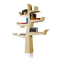 Modern Bookcase, Cream - This modern bookcase holds books, objects and souvenirs in an unusual, simplified tree shape.