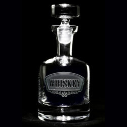 Crystal Imagery, Inc. - Whiskey Banner Decanter - Hold 38 ounces of your favorite whiskey in this brilliant glass decanter. A classic label has been etched onto its surface, adding an air of sophistication, while the glass topper provides a solid, masculine finish.