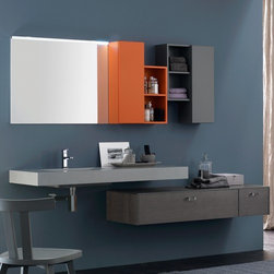 Azzurra - Azzurra | Azzurra Metropolis 09 Vanity Set - Made in Italy by Azzurra.A part of the Metropolis Collection. The Azzurra Metropolis 09 Vanity Set is striking and innovative. With the freedom to configure your storage units and to choose from a wide selection of colors, the Metropolis 09 Vanity Set enables creativity and organizational possibilities. equipped with two matt-lacquered wall storage units, and two deep drawers, this vanity set satisfies the daily bath storage demand. Product Features: