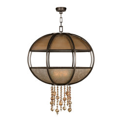 Fine Art Lamps - Singapore Moderne Bronze Pendant, 600340ST - Mount a statement-making centerpiece on the ceiling of your favorite modern setting. This spherical fixture, crafted of translucent mica and handblown glass, features an accent cascade of glass baubles.