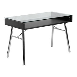 Flash Furniture - Flash Furniture Brettford Desk with Tempered Glass Top - NAN-JN-2966-GG - You'll have people doing a double take when they see this open glass table desk. The open space will allow you to neatly place any books and paperwork away neatly to be shown through the clear glass top. The shiny chrome frame adds to the modern design of this computer desk. [NAN-JN-2966-GG]