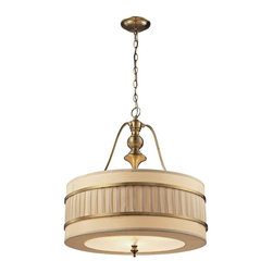 Elk Lighting - Luxembourg Collection 3 light pendant in Brushed Antique Brass - The Luxembourg collection blends classic detailing to a modern design. This series has a pleated cream fabric drum shade accented with metal rings and traditional hardware finished in Brushed Antique Brass.