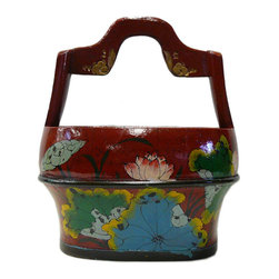 Golden Lotus - Chinese Red Color Floral Oval Wood Handle Bucket - This is an old oval wood bucket with new paint. It is a charm oriental decorative piece for home. ( hand-painted item, there is variation in graphic )