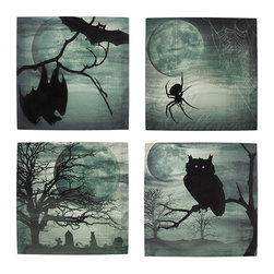 Set of 4 Spooky Night Printed Canvas Wall Hangings - This set of 4 canvases is the perfect addition to your collection of Halloween decor. Each one features a spooky scene with a big, full moon and fog. One of the canvases showcases a pair of bats, the next one has a spider dangling by its web, next is an owl on a tree branch, and the final one is a cemetery scene. They each measure 12 inches tall, 12 inches wide, 3/4 of an inch thick, and easily mount to any wall by the picture hanger on the back. This set looks wonderful any way you choose to display it, and makes a great gift for a friend.