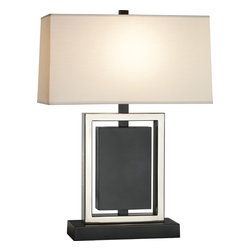 Robert Abbey - Crispin Table Lamp, Bronze/Antique Silver - A little Art Deco glam, a little Hollywood luxe, this distinctive lamp will make your room look like a vintage hot spot where the stars like to go after a long day on set. Its rectangular shade and base make a great geometric counterpoint to flowing prints and patterns.