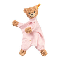 Steiff - Steiff Sleep Well Teddy Bear Comforter Lovey - Steiff Sleep Well Teddy Bear Comforter is made of plush for baby-soft skin. Machine washable. Handmade by Steiff of Germany.