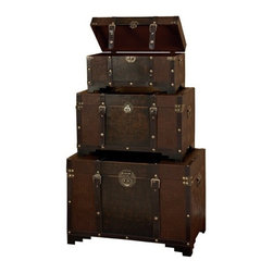 Benzara - Set Of3 Classic Steel Old Time Leather N Wood Chest Trunk - Set Of3 Classic Steel Old Time Leather N Wood Chest Trunk. This is Set of 3 boxes, large box is 28 inches wide x 20 inches H x 16 inch L, medium box is 24 inch wide x 14 inch h x 13 inch L and small box is 20 inch wide x 10 inch H x 10 inch L.