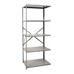 Hallowell - 87 in. High Medium-Duty Open Shelving in Gray Finish - Adder (36 in. W x 12 in. - Depth: 36 in. W x 12 in. D x 87 in. H. Great addition to Hi-Tech  medium-duty open shelving starter unit. Open style with sway braces. 5 Adjustable shelves. Fabricated from cold rolled steel. Welds are spaced 3 in. on center to provide maximum strength. Sides are triple flanged to form a channel. All 4 corners are lapped and resistance welded to provide a rigid corner and add extra strength to the shelf. Tubular front edge is designed to protect against impact loads. 36 in. W x 12 in. D x 87 in. H. 36 in. W x 18 in. D x 87 in. H. 36 in. W x 24 in. D x 87 in. H. Assembly required. 1-Year warranty