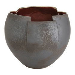 Arteriors - Gerald Bowl - The Gerald porcelain bowl is defined by its sliced, angled rim. The ox blood interior glaze contrasts with the matte gunmetal exterior finish. Decorative use only.