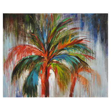 Bassett Mirror - Bassett Mirror Hand-Painted Canvas, Crazy Palm - Nature and street art are united in this large hand-painted piece. The bright spectrum of colors contrasted against the melted grays of the background make this piece a true statement in itself.