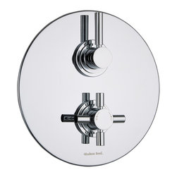 Hudson Reed - Tec Concealed 1 Outlet Twin Shower Mixer Valve With Round Trim Plate in Chrome - Create a neat, streamlined look to your bathroom with the Hudson Reed Tec thermostatic twin shower valve, which features a round plate with a chrome finish. This shower valve will supply water at a pre-set temperature to either a fixed shower head, shower handset or tub filler. Made in Great Britain from brass, this high quality thermostatic shower valve incorporates ceramic disc technology and an anti-scald device for a safer showering experience.