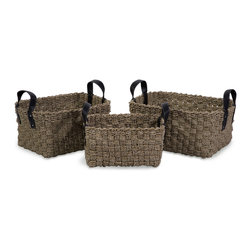 iMax - Natural Seagrass Baskets with Handles, Set of 3 - Set of three, robust woven natural Sea grass baskets with Faux leather handles.