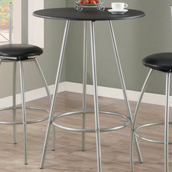 Monarch Specialties 2330 Black Round Top Bar Table in Silver
