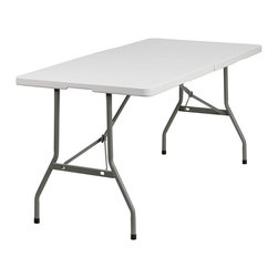 Flash Furniture - Flash Furniture Plastic Bi Folding Table in White - Flash Furniture - Folding Tables - RB3060FHGG - Flash Furniture's 30''W x 60''L Commercial Grade Folding Table features a durable stain resistant blow molded top and sturdy frame. The low maintenance blow molded top cleans easily. This 5 ft. table folds in half for easy transporting and legs lock in to