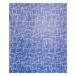 Kimberly Lewis Home - Set Sail Wallpaper, Roll, Navy - Get ready for smooth sailing with this nautical-themed wallpaper. Add it to a guest bath, a kid's room — or just about anywhere you want to feel the cool ocean spray.