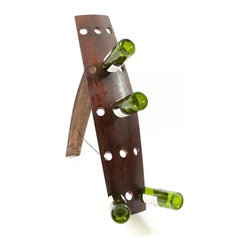 Art.com - Ruth's Riddling Rack.  Each rack is designed to hold 12-15 bottles of your favorite wine. Holes are bored at equally distant positions. The neck of the bottles comfortably sit in a downward angle for long-term storage and easy removal. Also made from a stave, the leg is held into place at the top of the rack. Hinged and allowed to open to a set distance with an attached rubbed bronze steel chain. This design makes the rack easy to store and ship.