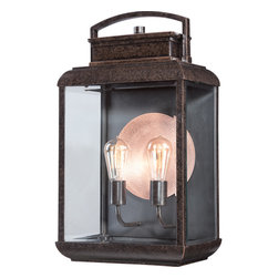 Quoizel - Byron 1-light Imperial Bronze Extra Large Wall Lantern - The Byron extra large wall lantern gives the exterior of your home both beauty and an exclusive sense of style.  Featuring a vintage bulb for a historic look,this lantern is enhanced by the copper-hued plate directly behind it