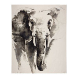 Z Gallerie - Watercolor Elephant - Grandiose in size and stately in stature, our Watercolor Elephant stunningly infuses your décor with subtle hued animal imagery. Cast in a soft palette of charcoal gray and off white, Watercolor Elephant offers a sense of tranquility and decorative distinction. Completing the look, the piece has been gallery wrapped for modern sensibilities.