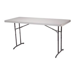 Lifetime 6 ft. Rectangle Commercial Adjustable Height Folding Table- 22 Pack - The Lifetime 6 ft. Commercial Adjustable Height Folding Table - 22 Pack is great for any major event. This versatile model features three adjustable height settings so it can function as a countertop children's table or just a handsome dining table for adults. The rust-resistant frame holds a weight capacity far beyond the industry standard and folds for easy set-up. The surface itself won't crack chip or peel and the corners are dent resistant. UV-protection and stain-resistance are other perks of the Commercial Adjustable Height Folding Table making it great for outdoor use as well. Measures 72L x 36W x 30H inches.About Lifetime ProductsOne of the largest manufacturers of blow-molded polyethylene folding tables and chairs and portable residential basketball equipment Lifetime Products also manufactures outdoor storage sheds utility trailers and lawn and garden items. Founded in 1972 by Barry Mower Lifetime Products operates out of Clearfield Utah and continues to apply innovation and cutting-edge technology in plastics and metals to create a family of affordable lifestyle products that feature superior strength and durability.