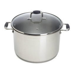 "Pauli Cookware - Pauli Pot 10 qt. Never Burn Stock Pot - This is the 10-quart saucepot that will never burn sauces or stews, even if the busy saucier forgets to stir. The base of this pot is lined with seven layers of alternating stainless steel and aluminum, enclosing a hermetically sealed silicone oil chamber. That chamber acts as a permanent double boiler, distributing heat evenly and guarding against abrupt shifts in temperature. In lesser pots, sauces must be stirred constantly, otherwise they can easily scorch and impart a burned flavor-to say nothing of the difficulty of scouring afterward. The heat distribution in this pot ensures that even dense meals like chowder and chili need never be stirred while left to thicken on the stove. The outer shell of the pot is made of 1.2 mm stainless steel, easily twice the thickness of common cookware, and its lid is tempered glass. The twin handles are heat-resistant for easy carrying. Hand wash. 8"" H x 12"" Diam. (12 lbs.)  The key to this unrivaled kitchen tool lies in its patented 7-layer bottom, which alternates layers of stainless steel and aluminum around a hermetically sealed oil chamber. The oil heats up and ensures a perfect, even distribution of heat - every time!"