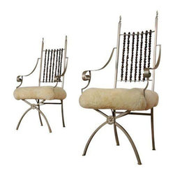 Sheepskin Pagan Chairs - A Pair - Dimensions 22.5ʺW × 19.0ʺD × 47.25ʺH