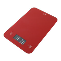 "American Weigh Scales - Thin Digital Kitchen Scale Red - Digital kitchen scale.  Built-in touch activated buttons.  Super thin (.6"").  4-G Force load cells for accuracy on uneven surfaces.  11lb capacity. .1oz graduation.  Easy to read LCD display (.9""x2.2"").  Platform size 5.9""x9"".  2-CR2032 Lithium batteries included.  Red color."