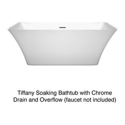 Wyndham Collection - Wyndham Collection Tiffany White 59-inch Soaking Bathtub - The natural balance and beauty of the Tiffany Soaking Tub comes from the modern symmetrical design. Along with softly arching walls this bathtub creates an open and inviting bath and a zen spa experience.