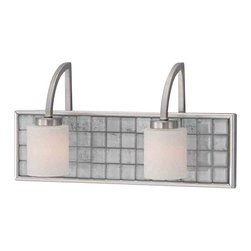 Brushed Nickel And Glass Tile 2 Light Bath Wall With Led Nightlight - Condition: New - in box