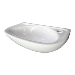 ALFI brand - ALFI brand AB102 White Small Porcelain Wall Mount Bathroom Sink Basin - A simple small porcelain wall mounted bathroom sink is sometimes harder to find than you might think. This model has been selling very well due to its small size and convenient shape. Perfect for those small bathrooms or powder rooms.