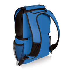"Picnic Time - Zuma Cooler Tote - Blue - The Zuma insulated cooler/backpack won't weigh you down when carrying food and gear to your destination. The backpack is made of durable 600D polyester and divided into two sections: the top air mesh section (with drawstring closure) is designed to hold clothing, towels, or other gear that needs to ""breathe"", and the bottom section features Thermo Guard insulation to keep food warm or cool for hours and a heat-sealed, water-resistant lining to guard against leaks. The Zuma also features padded shoulder straps with air mesh on the underside and a specially design pocket on the front right strap to hold a mobile phone or media device. On the Zuma's exterior, two large zipper pockets and two beverage pockets help keep your personal effects close at hand. Stylish, lightweight and functional, the Zuma is terrific for day trips, hiking, the beach, sporting events, and fishing."