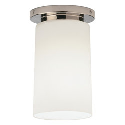 Robert Abbey - Rico Espinet Nina Flushmount - Create a lovely pillar of light in your room with this simply beautiful flushmount fixture. The metal base perfectly grounds the ethereal shade, creating a clean, modern look for your ceiling.