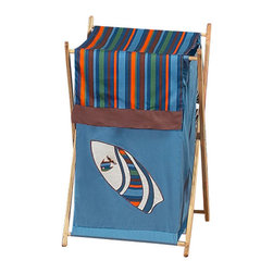 Sweet Jojo Designs - Surf Blue & Brown Hamper - The Surf Blue & Brown laundry hamper will help complete the look of your Sweet Jojo Designs room. This adorable laundry clothes hamper includes a wooden frame, mesh liner and fabric cover. The removable hamper body is secured to the wooden frame with corner loops and Velcro. The wooden stand folds flat for space-saving storage and the removable mesh liner is great for toting laundry. Dimensions: 26.5in. x 15.5in. x 16in.