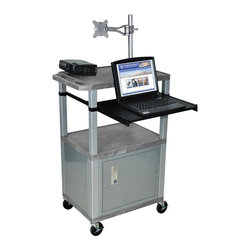 H. Wilson - Tuffy Pullout Shelf Presentation Cart w Nickel Legs in Gray - Includes lock with a set of two keys and three outlet 15 ft. cord. Monitor mount features 270 degree swivel, 180 degree tilt and adjustable height. Recessed chrome handle. 20 gauge steel cabinet. Recessed chrome handle. Locking steel cabinet panels fit firmly into the specially molded leg slots. Cable management access in back cabinet panel. Three shelves. 0.25 in. safety retaining lip and a raised texture surface to enhance product placement and ensure minimal sliding. 4 in. silent roll. Full swivel ball. 1.5 in. square nickel colored legs that will not chip, warp, crack, rust or peel. 4 in. heavy duty casters, two with locking brakes. High density polyethylene structural foam injection molded plastic shelves. Cord with cord management wrap and three cable management clips. Electrical attachment recessed to insure easy passage through doorways. Shelves and legs are made from recycled material. UL listed electrical assembly. Made from polyethylene and plastic. Made in USA. Minimal assembly required. Pullout shelf: 19.63 in. L x 15.63 in. W. Shelves: 24 in. L x 18 in. W x 1.5 in. H. Overall: 24 in. L x 18 in. W x 42.5 in. H. Warranty