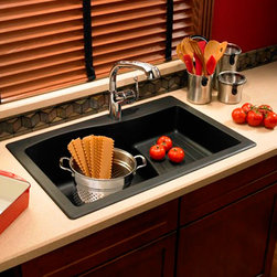 """33"""" Swanstone® Drop-In Ascend Sink - This unique drop-in kitchen sink has an eye-catching design, featuring a raised platform with decorative channels that is ideal for food preparation, dishwashing and cleanup."""